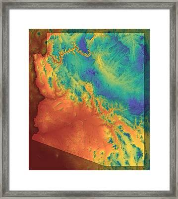 Arizona Map Art Framed Print by Paul Hein