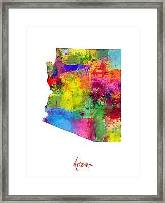 Arizona Map Framed Print by Michael Tompsett