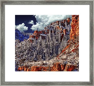 Arizona Secret Mountain Wilderness In Winter Framed Print by Bob and Nadine Johnston