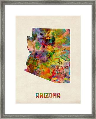Arizona Watercolor Map Framed Print by Michael Tompsett