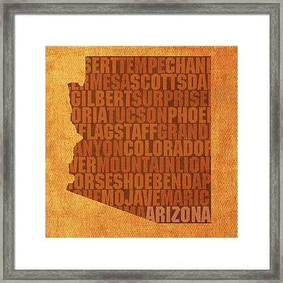 Arizona Word Art State Map On Canvas Framed Print by Design Turnpike