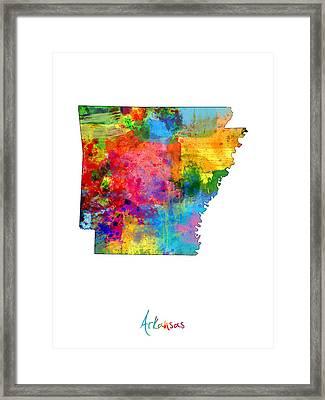 Arkansas Map Framed Print by Michael Tompsett