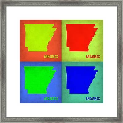 Arkansas Pop Art Map 1 Framed Print by Naxart Studio