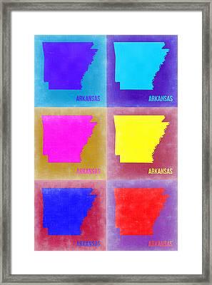 Arkansas Pop Art Map 2 Framed Print by Naxart Studio