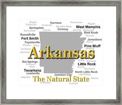 Arkansas State Pride Map Silhouette  Framed Print by Keith Webber Jr