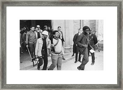 Armed Blacks Occupy Cornell Framed Print by Underwood Archives