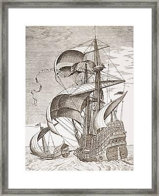 Armed Three-master On The Open Sea Framed Print by Pieter the Elder Bruegel