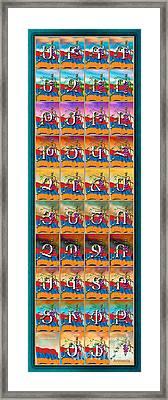 Blue Grapes Framed Print featuring the mixed media Armenian Alphabet Seasons by Bedros Awak