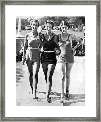 Army Bathing Suit Trio Framed Print by Underwood Archives