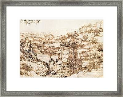 Arno Landscape Framed Print by Leonardo da Vinci