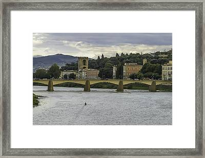 Arno River And Architecture In Florence Framed Print by Karen Stephenson