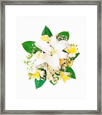 Arranged Flowers And Leaves On White Framed Print by Panoramic Images