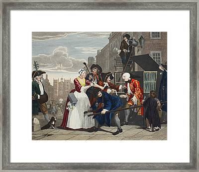 Arrested For Debt, Plate V From A Rakes Framed Print by William Hogarth