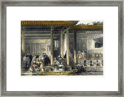 Arrival Of Marriage Presents Framed Print by Thomas Allom