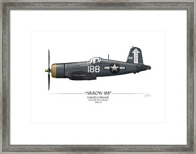 Arrow 188 F4u Corsair - White Background Framed Print by Craig Tinder