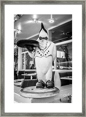 Art Deco Penguin Waiter South Beach Miami - Black And White Framed Print by Ian Monk