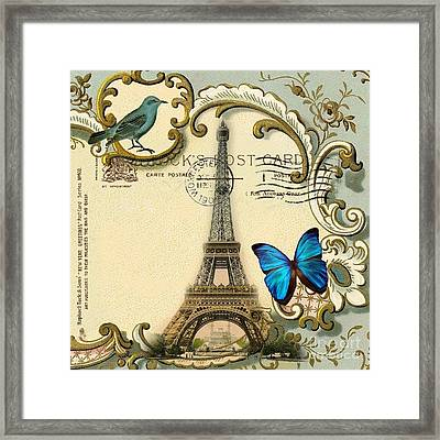 Art Deco Swirls Butterfly Eiffel Tower Paris Framed Print by Cranberry Sky