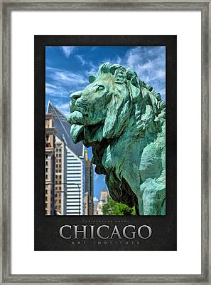 Art Institute In Chicago Lion Poster Framed Print by Christopher Arndt