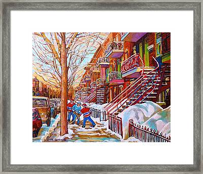 Art Of Montreal Staircases In Winter Street Hockey Game City Streetscenes By Carole Spandau Framed Print by Carole Spandau