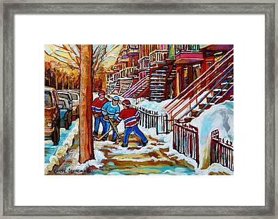 Art Of Verdun Staircases Montreal Street Hockey Game City Scenes By Carole Spandau Framed Print by Carole Spandau