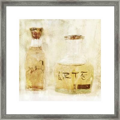 Arte Art Glass Bottle In Yellow Framed Print by Angela Bonilla