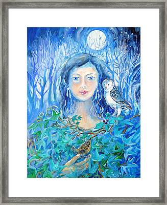 Artemis And The Wren- Framed Print by Trudi Doyle