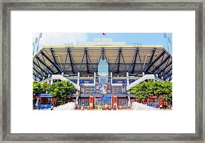 Arthur Ashe Tennis Stadium Framed Print by Nishanth Gopinathan