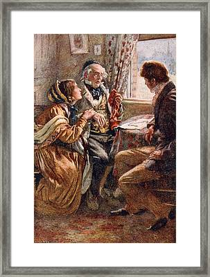 Arthur Clennam Tells The Good News, Illustration For Character Sketches From Dickens Compiled Framed Print by Harold Copping