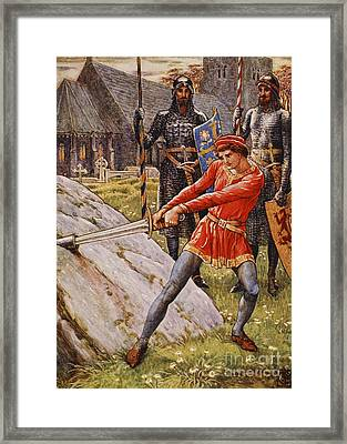 Arthur Draws The Sword From The Stone Framed Print by Walter Crane