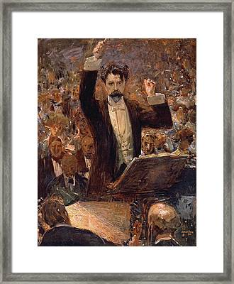 Arthur Nikisch Conducting A Concert At The Gewandhaus In Leipzig Framed Print by Robert Sterl