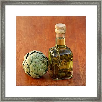 Artichoke And Olive Oil Framed Print by Art Block Collections