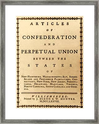 Articles Of Confederation, 1777 Framed Print by Science Source