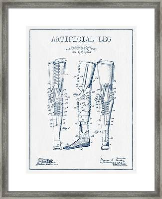 Artificial Leg Patent From 1912 - Blue Ink Framed Print by Aged Pixel
