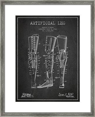 Artificial Leg Patent From 1912 - Dark Framed Print by Aged Pixel