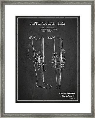Artificial Leg Patent From 1955 - Dark Framed Print by Aged Pixel