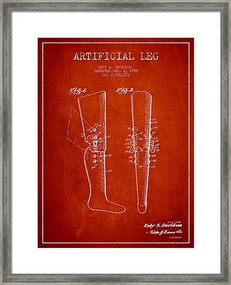 Artificial Leg Patent From 1955 - Red Framed Print by Aged Pixel