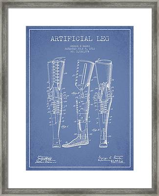 Artificial Leg Patent From 1912 - Light Blue Framed Print by Aged Pixel
