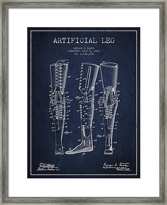 Artificial Leg Patent From 1912 - Navy Blue Framed Print by Aged Pixel