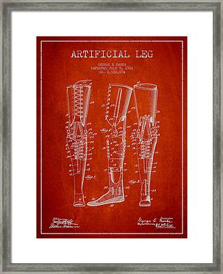 Artificial Leg Patent From 1912 - Red Framed Print by Aged Pixel