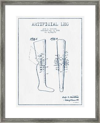 Artificial Leg Patent From 1955 - Blue Ink Framed Print by Aged Pixel