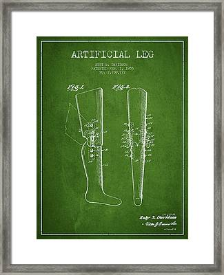 Artificial Leg Patent From 1955 - Green Framed Print by Aged Pixel