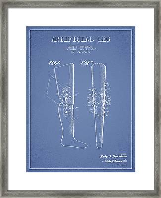 Artificial Leg Patent From 1955 - Light Blue Framed Print by Aged Pixel