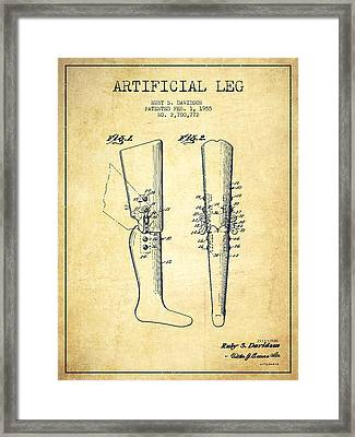 Artificial Leg Patent From 1955 - Vintage Framed Print by Aged Pixel