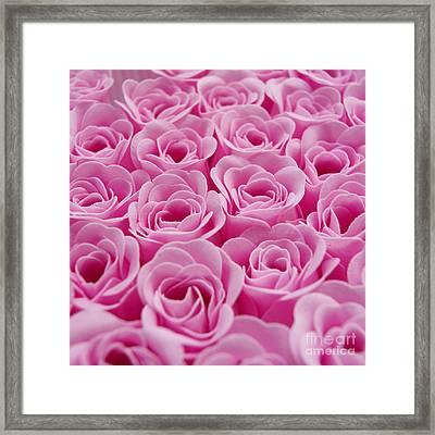 Artificial Pink Roses Framed Print by Bernard Jaubert