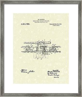 Artillery Mount 1919 Patent Art Framed Print by Prior Art Design