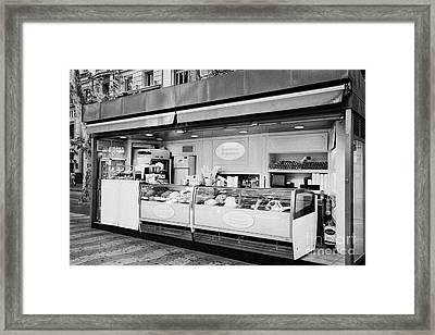 Artisan Ice Cream Kiosk On La Rambla Barcelona Catalonia Spain Framed Print by Joe Fox