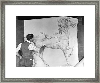 Artist Draws Carousel Animals Framed Print by Underwood Archives