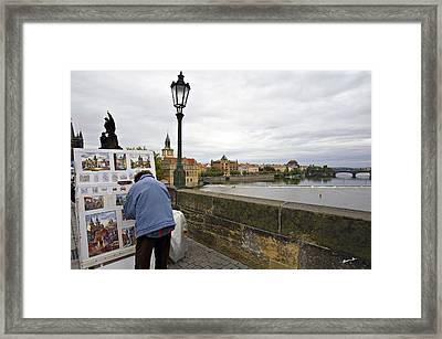 Artist On The Charles Bridge - Prague Framed Print by Madeline Ellis