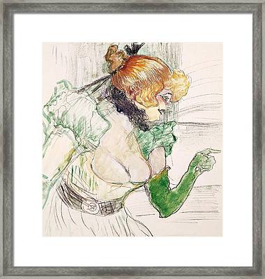 Artist With Green Gloves - Singer Dolly From Star At Le Havre Framed Print by Henri de Toulouse Lautrec