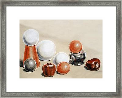 Artistic Playground Apples And Balls Show Framed Print by Irina Sztukowski